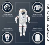 details of modern space suit... | Shutterstock .eps vector #1043691061