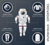 details of modern space suit... | Shutterstock .eps vector #1043691061