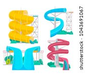 colorful aquapark isolated set... | Shutterstock .eps vector #1043691067