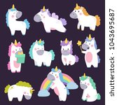 cute unicorn set hand drawn... | Shutterstock .eps vector #1043695687