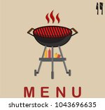 set bbq party. barbecue... | Shutterstock .eps vector #1043696635