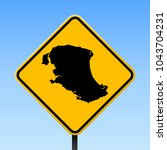 parrot cay map road sign.... | Shutterstock .eps vector #1043704231