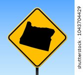 oregon map road sign. square... | Shutterstock .eps vector #1043704429