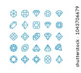 diamond vector line icons.... | Shutterstock .eps vector #1043706679