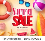 summer sale vector banner... | Shutterstock .eps vector #1043709211