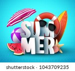summer vector banner design... | Shutterstock .eps vector #1043709235