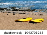 surfboards on the beach of las... | Shutterstock . vector #1043709265