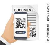 smartphone in man's hand... | Shutterstock .eps vector #1043711914
