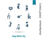 happy mothers day simple flat...   Shutterstock .eps vector #1043714611