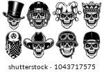 set of skull characters... | Shutterstock .eps vector #1043717575