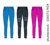 women jeans flat vector | Shutterstock .eps vector #1043717929