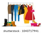 flat vector racks with clothes... | Shutterstock .eps vector #1043717941