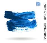 blue brush stroke and texture.... | Shutterstock .eps vector #1043719387