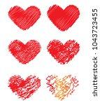 grunge hearts set  valentine...   Shutterstock .eps vector #1043723455