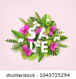summer sale  trendy tropical... | Shutterstock .eps vector #1043725294