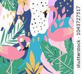 tropical jungle leaves... | Shutterstock .eps vector #1043727517