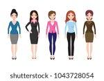young girl standing in... | Shutterstock .eps vector #1043728054