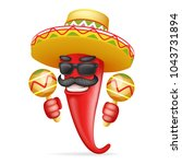 latin maraca mexican hat red... | Shutterstock .eps vector #1043731894