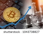 Small photo of Bitcoin financial business competition chess battle with rising market value upswing.