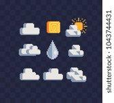 weather symbols web icons pixel ...   Shutterstock .eps vector #1043744431