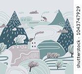 mountain landscape. lonely... | Shutterstock .eps vector #1043747929