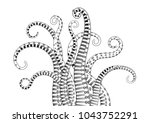 hand drawn tentacle. black and...
