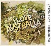 i love country hand lettering... | Shutterstock .eps vector #1043752627