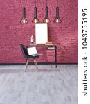 Small photo of claret red brick wall black decorative lamp home office working desk interior