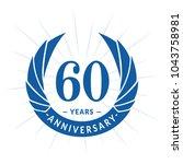 60 years anniversary. elegant... | Shutterstock .eps vector #1043758981