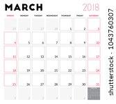 calendar planner for march 2018.... | Shutterstock .eps vector #1043760307