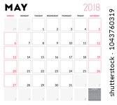 calendar planner for may 2018.... | Shutterstock .eps vector #1043760319