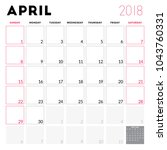 calendar planner for april 2018.... | Shutterstock .eps vector #1043760331