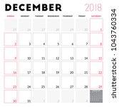 calendar planner for december... | Shutterstock .eps vector #1043760334