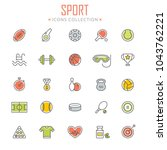 collection of sport icons.... | Shutterstock .eps vector #1043762221