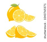 lemons on a white background.... | Shutterstock .eps vector #1043765371