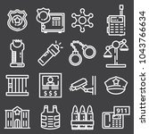 vector line police icon set on... | Shutterstock .eps vector #1043766634
