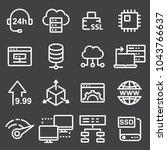thin line icons set of hosting... | Shutterstock .eps vector #1043766637