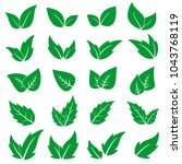 green leaf icons set. vector... | Shutterstock .eps vector #1043768119