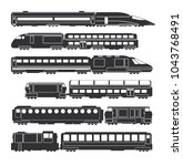 trains and wagons black vector... | Shutterstock .eps vector #1043768491