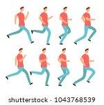 cartoon running man in casual... | Shutterstock .eps vector #1043768539