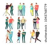 disabled people with caring... | Shutterstock .eps vector #1043768779