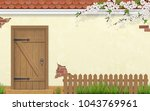 stucco wall of a house with an... | Shutterstock .eps vector #1043769961
