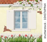 old white  window with shutters ... | Shutterstock .eps vector #1043769964