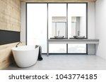 wooden and black wall modern...   Shutterstock . vector #1043774185