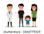 family to see doctor in... | Shutterstock .eps vector #1043775325