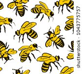 bee seamless pattern. black and ... | Shutterstock .eps vector #1043775757