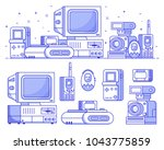 vintage 90s technology icons.... | Shutterstock .eps vector #1043775859