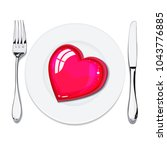 red heart on white plate  metal ...