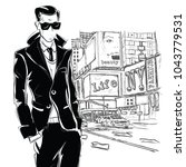 fashion man in sketch style in... | Shutterstock .eps vector #1043779531