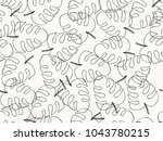 hand drawn  tropical leave... | Shutterstock .eps vector #1043780215